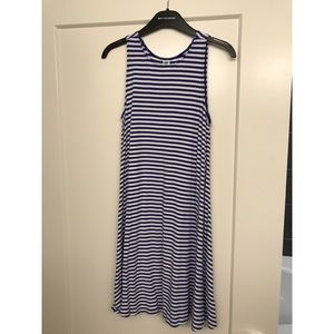Old Navy blue white stripes swing dress sz S